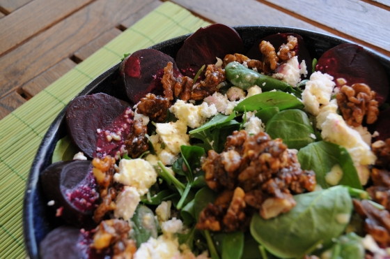 roasted beetroot and walnut salad from whatever's left