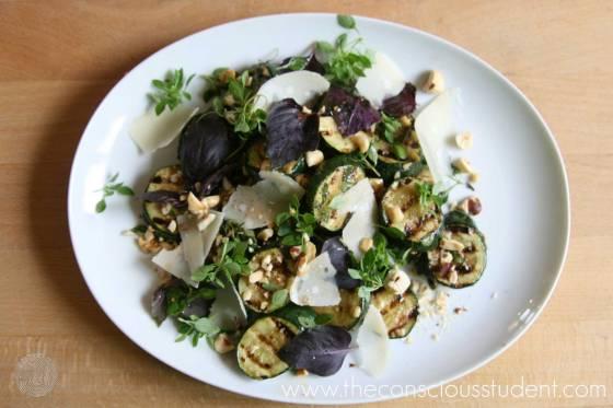 Chargrilled zucchini & hazelnut salad