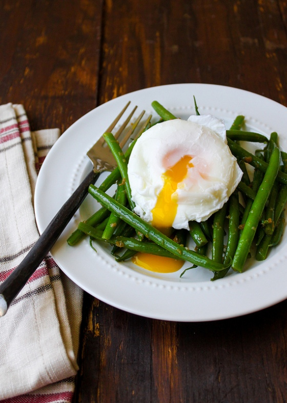 green bean and poached eggs with ginger dressing by the little epicurean