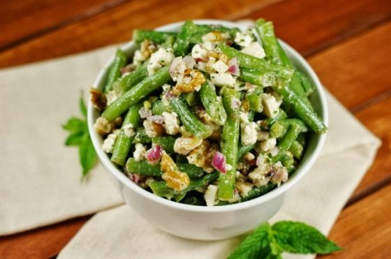 green bean, feta and walnut salad by the kitchen is my playground
