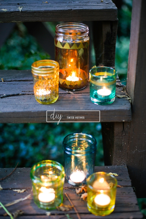 coloured jar votives - click for full instructions